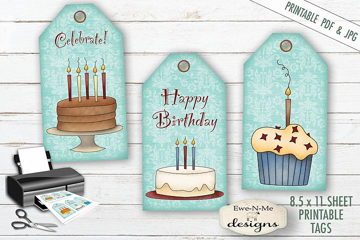 Printable Birthday Tags - Cake Cupcakes - PDF & JPG