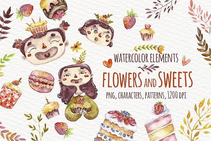 Watercolor sweets and flowers