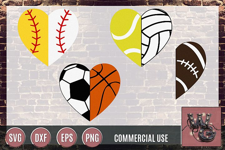 Sports Hearts Divided SVG DXF PNG EPS Commercial