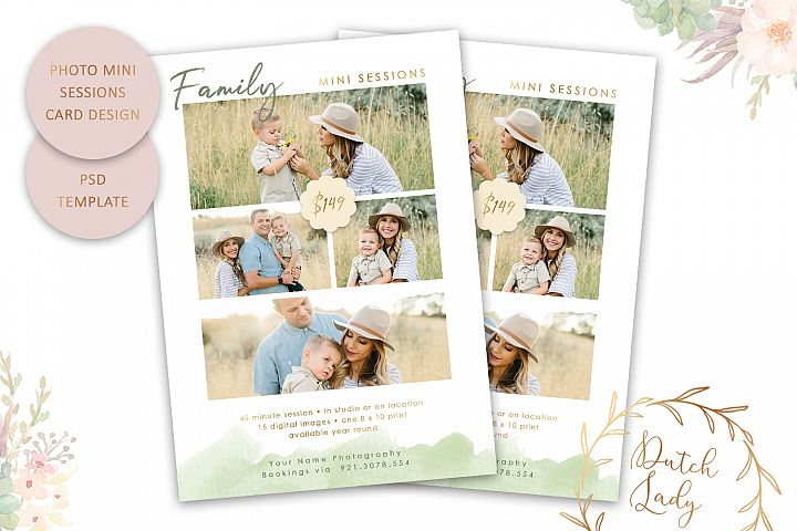 PSD Family Photo Session Card Template - Design #45