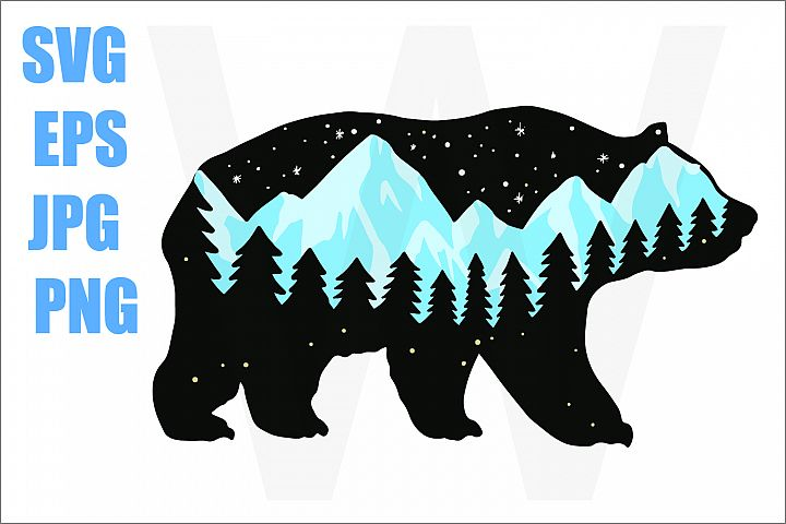 Bear Walk with Blue Mountain - SVG EPS JPG PNG