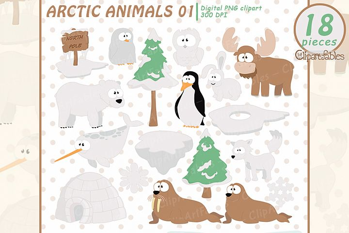 Cute ARCTIC Animal clipart, North pole and sea, polar art