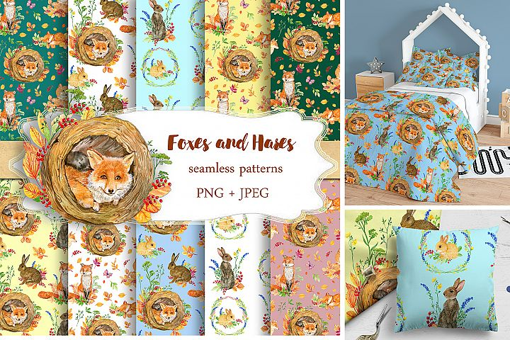 Foxes and hares. Collection of seamless patterns