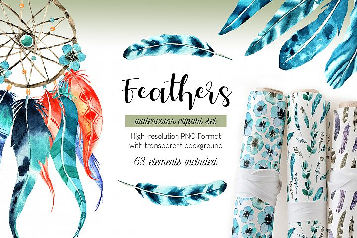 Feathers. Watercolor clipart set