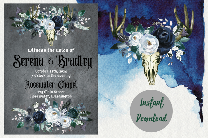 Gothic Dark Wedding Invitation