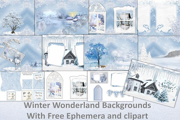 Winter Wonderland Backgrounds free clipart and ephemera. CU