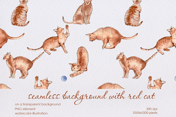 seamless background with red cat