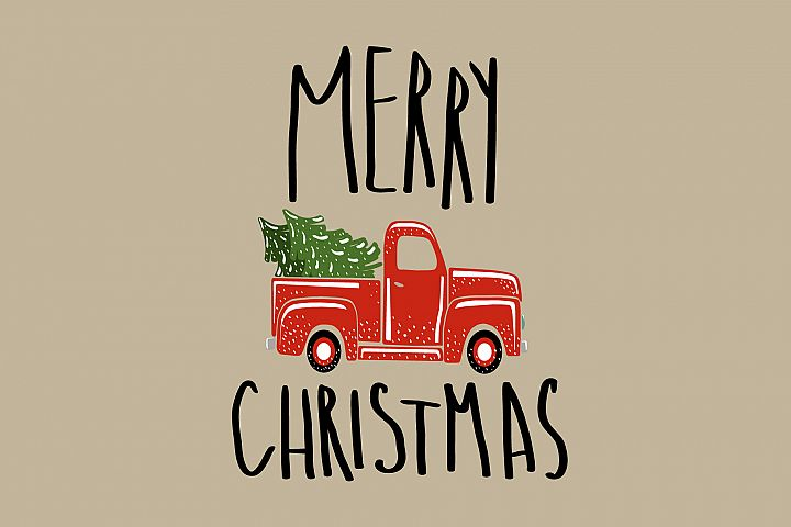 Christmas vintage red truck.