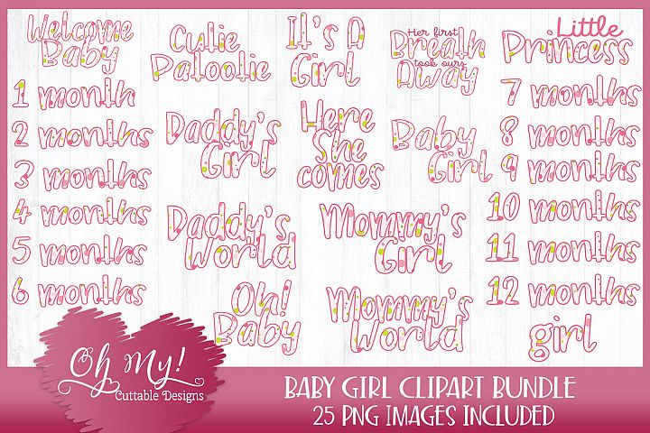 Baby Girl Polkadots Bundle Clipart Graphics 25 Images