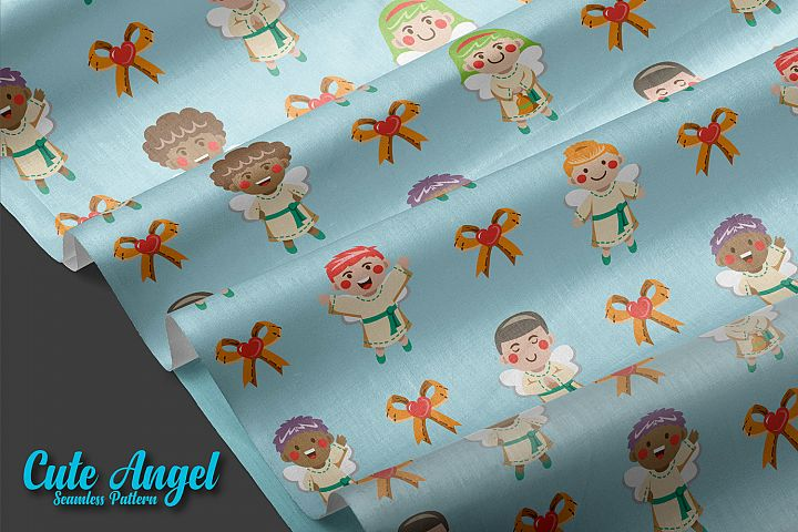 Seamless patterns cute angel christmas example image 2