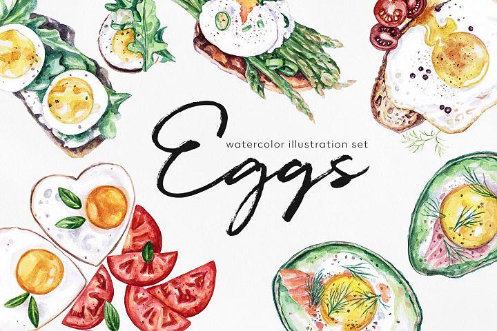 Watercolor food set illustrations. Eggs foods. Egg