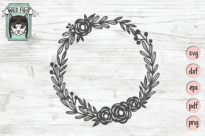 Wreath SVG file, Wreath cut file, Floral, Flowers, Laurel