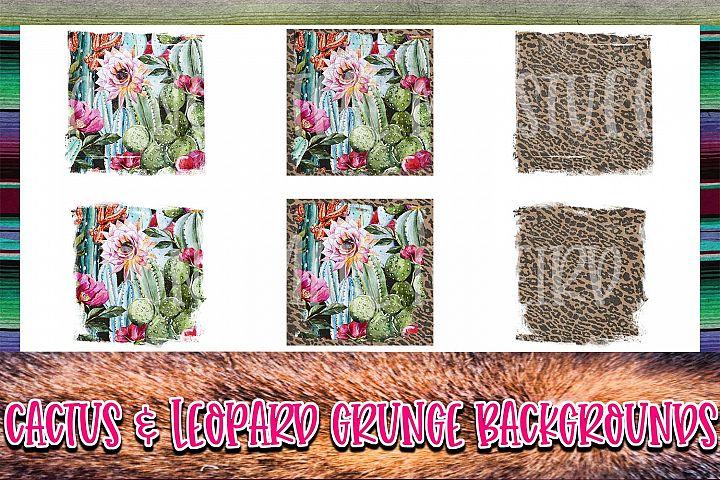 Cactus & Leopard Background Elements