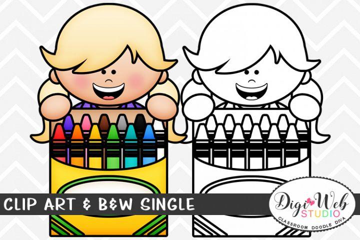 Clip Art & B&W Single - Girl w/ A Box of Crayons Topper