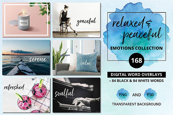 Digital Word Overlays - 168 Relaxed & Peaceful Emotions