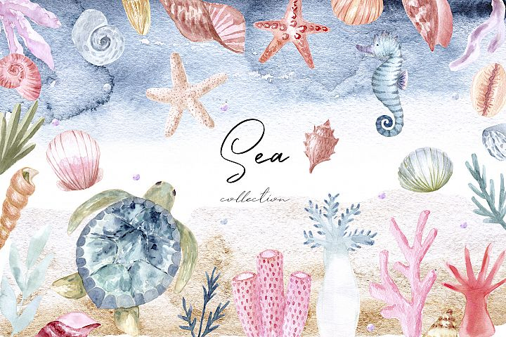 Watercolor Sea Collection. Patterns and Cliparts