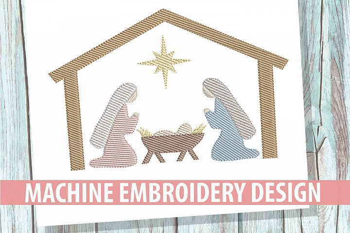 Nativity Sketch Embroidery Design