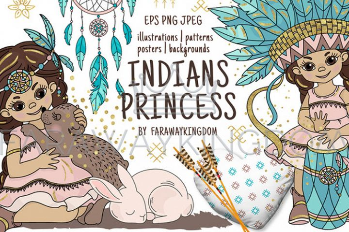 INDIANS PRINCESS Pocahontas Thanksgiving Vector Illustration