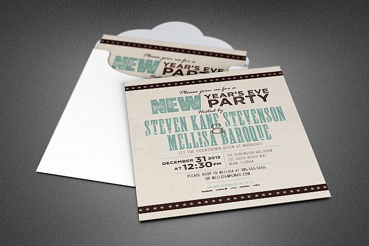 Retro New Year Party Invite Card Template