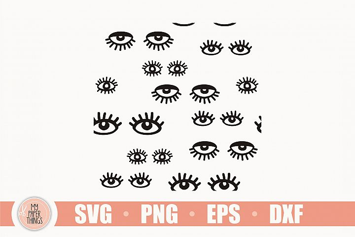 Eye pattern svg, Eyelashes svg, Seamless Pattern SVG