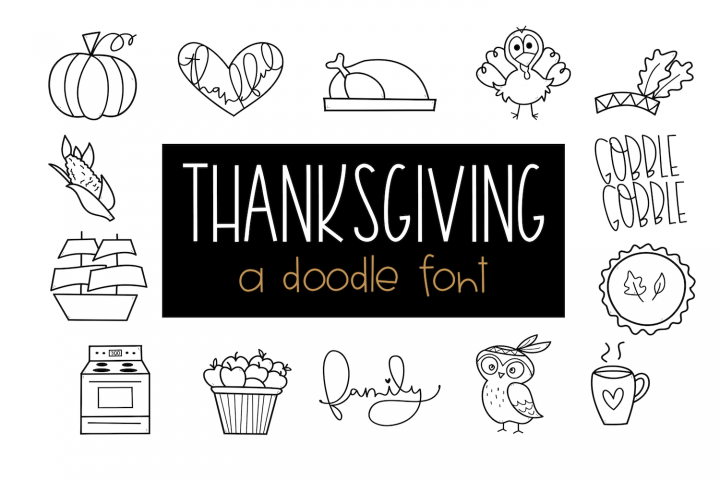 Gobble Gobble - A Thanksgiving / Fall Doodles Font