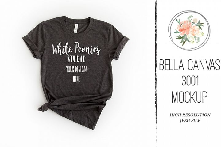 Heather Black Bella Canvas 3001 Shirt Mockup knotted