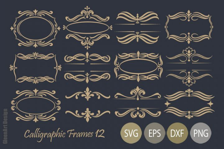 Calligraphic Frames Bundle in gold and black colors