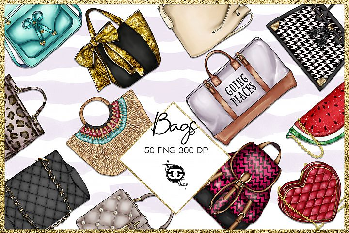 Fashion Cliparts // Bags Png Cliparts // 50 png cliparts