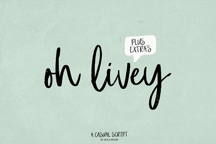 A casual brush script, Oh Livey + extra clipart