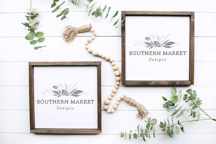 12x12 Dual Wood Framed Sign Mock Up Styled Photo