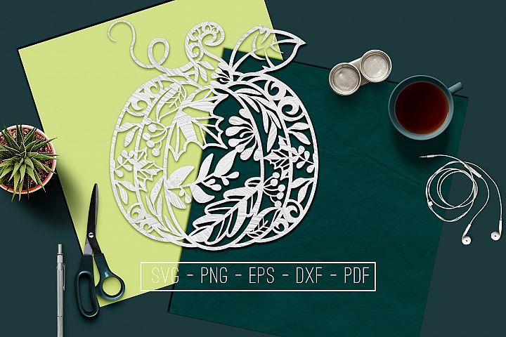 Pumpkin Papercut Template, Autumn Fall Decor, SVG, PDF, DXF