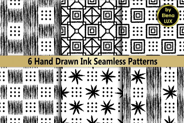 Ink Hand Drawn Seamless Set