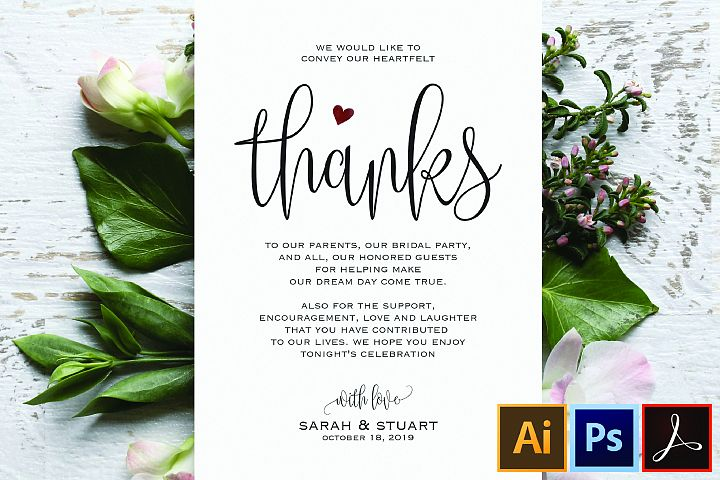Wedding Thank You Printable Template, Thank You Card
