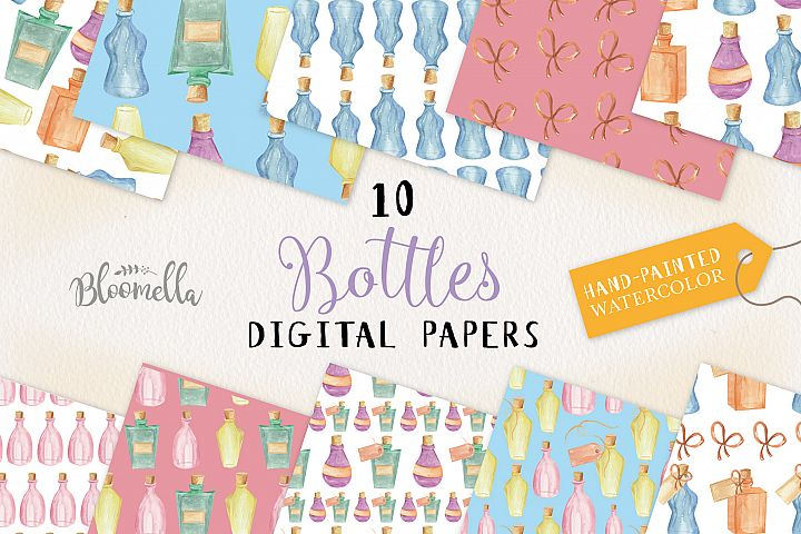Bottles Seamless Patterns Digital Papers Bows Labels Potions