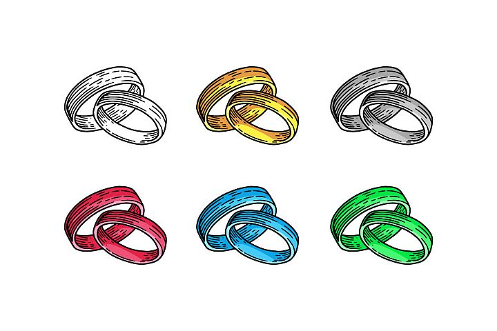 Colorful Wedding Rings Hand Drawn