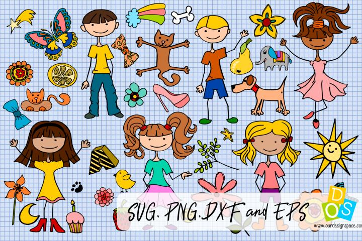 Huge Little People Doodle Bundle of 77 SVG, PNG, DXF