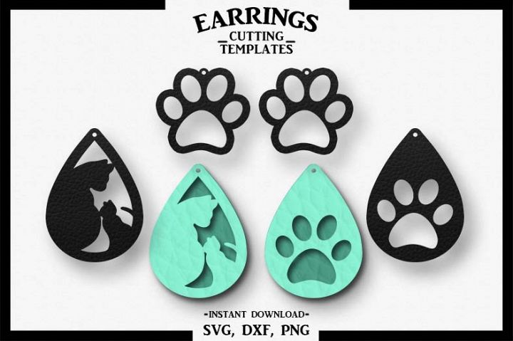 Cat Earrings, Silhouette, Cricut, Cut File, SVG DXF PNG