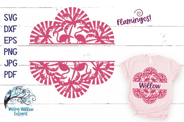 Split Palm Tree Flamingo Mandala SVG Cut File