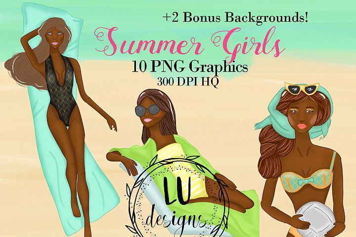 African American Summer Girls Clipart, Girl Illustrations