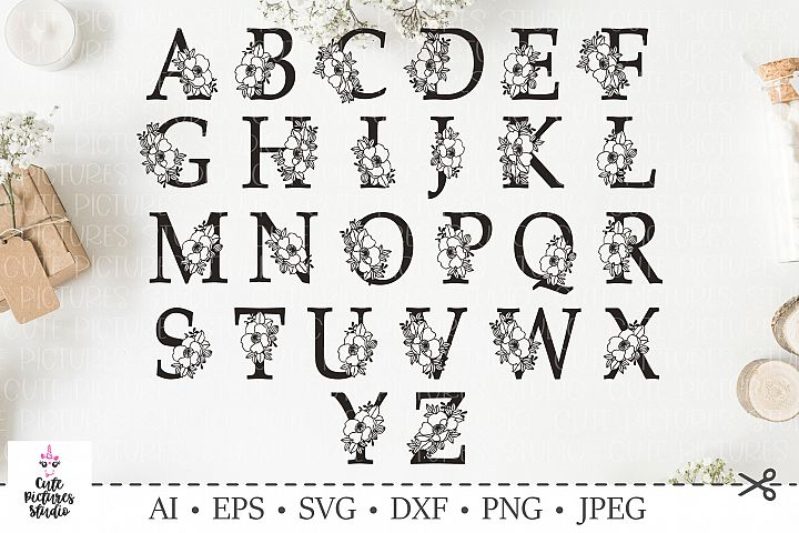 Botanical alphabet svg. Floral letter svg. Bundle SVG, DXF