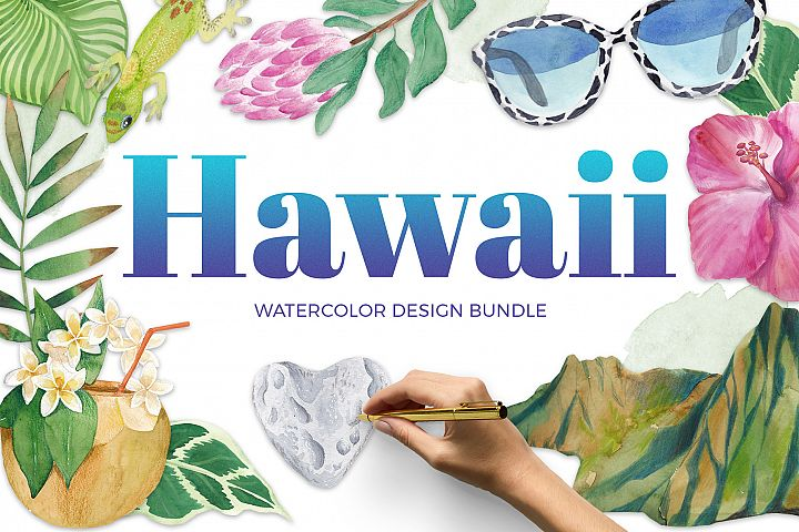 Hawaii - watercolor design bundle