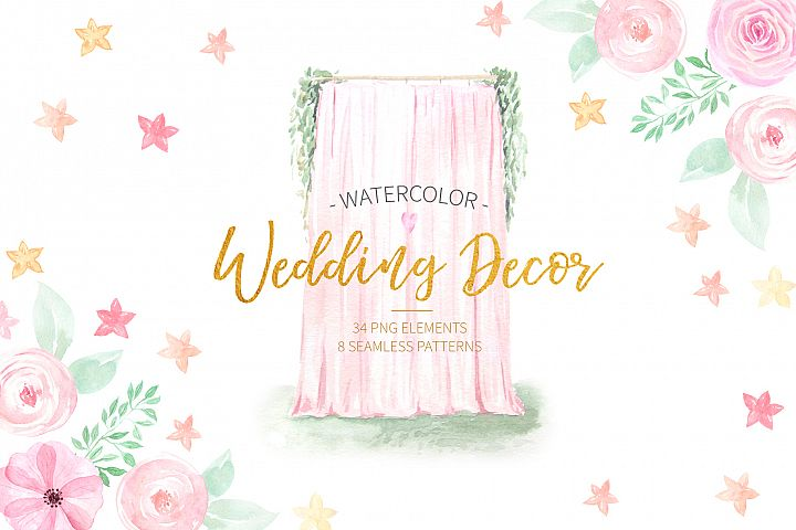 Watercolor Wedding Decor Set