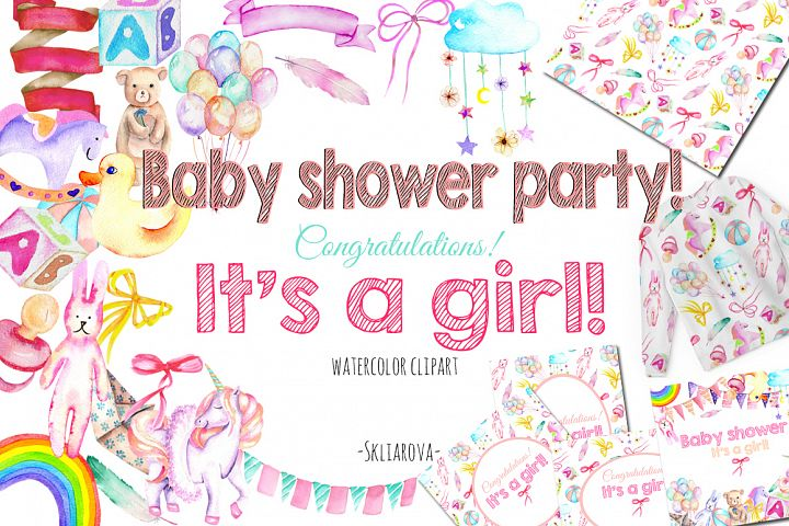 Its a Girl! watercolor clipart