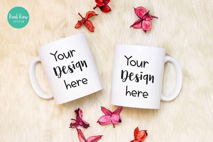 White Couple Coffee Mug Mock-Up | Flatlay