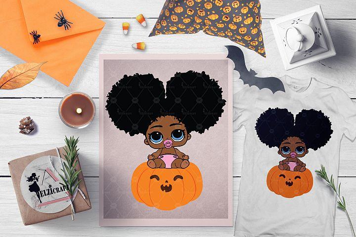 Halloween Afro Peeking Baby Girl Pumpkin Smile SVG File