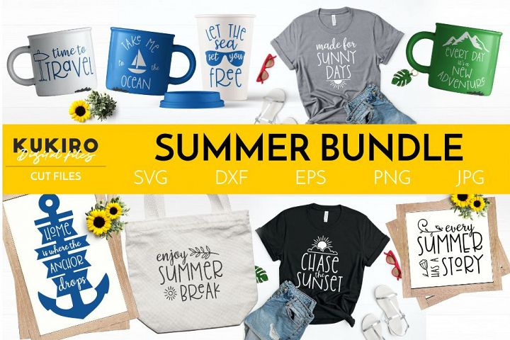 SUMMER BUNDLE - Summer travel SVG Quotes Cut Files Bundle