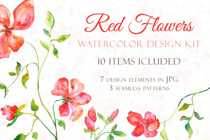 Red Blooming Flowers - Handmade watercolor design kit