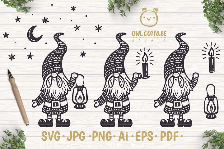 Scandinavian Gnomes SVG, Good Night Gnome with Lantern, Tomt