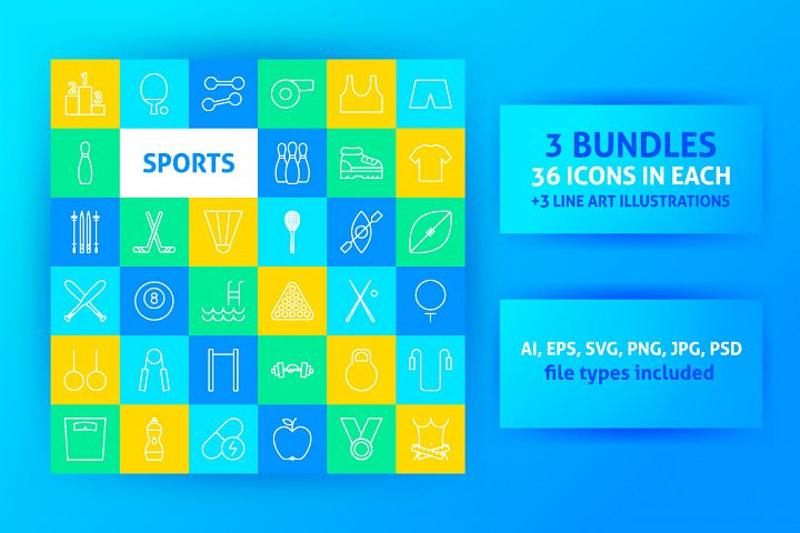 Sport Items Line Art Icons