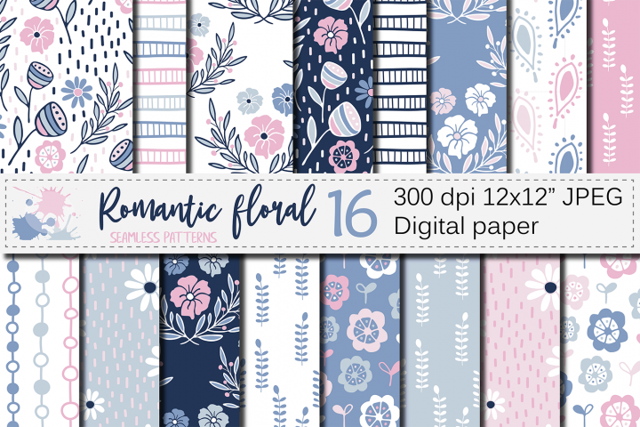 Romantic blue pink floral seamless digital paper, patterns